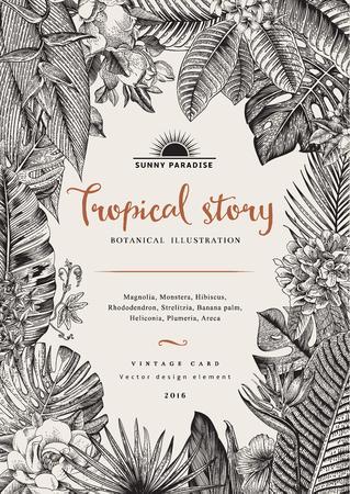 vintage card botanical illustration