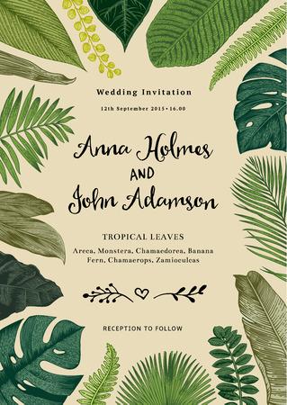 Ilustración de Vector vintage card. Wedding invitation. Botanical illustration. Tropical leaves. - Imagen libre de derechos
