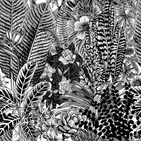 Illustration pour Vector seamless vintage pattern. Exotic flowers and plants. Botanical classic illustration. - image libre de droit