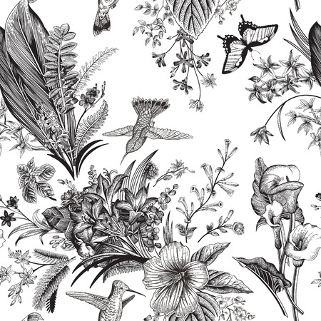 Illustration pour Vector seamless vintage floral pattern. Exotic flowers and birds. Botanical classic illustration. Black and white - image libre de droit