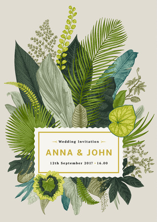 Illustration pour Vector vintage card. Wedding invitation. Botanical illustration. Tropical leaves. - image libre de droit