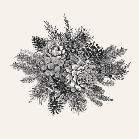 Winter bouquet vintage vector illustration.