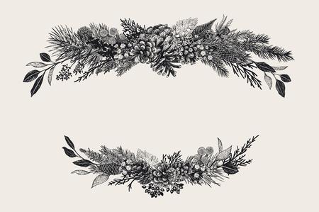 Ilustración de Winter set. Floral christmas compositions. Evergreen, cone, succulents, flowers, leaves, berries. Botanical vector vintage illustration. Black and white - Imagen libre de derechos