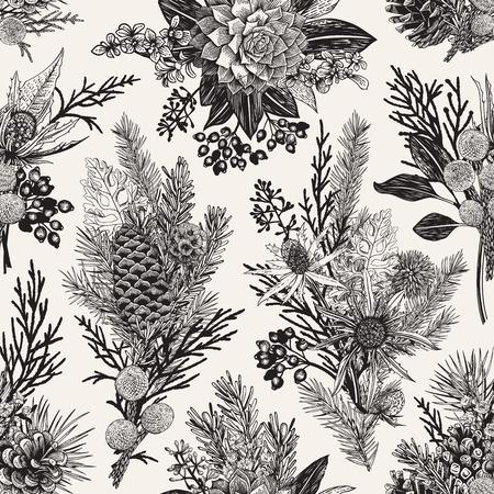Ilustración de Seamless floral pattern. Winter Christmas decor. Evergreen, cone, succulents, flowers, leaves, berries. Botanical vector vintage illustration. Black and white. - Imagen libre de derechos