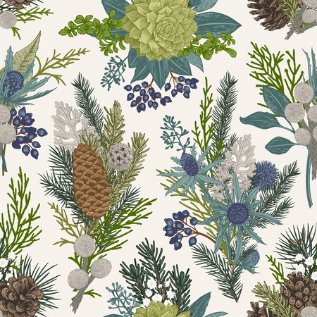 Illustration for Seamless floral pattern. Winter Christmas decor. Evergreen, cone, succulents, flowers, leaves, berries. Botanical vector vintage illustration. - Royalty Free Image