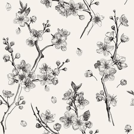 Illustration for Sakura. Seamless pattern. Cherry blossom branches. Vector botanical illustration. Black and white - Royalty Free Image