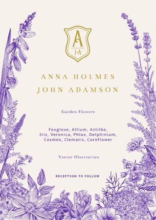 Foto de Wedding invitation. Vector vintage illustration. Garden flowers. Ultraviolet - Imagen libre de derechos