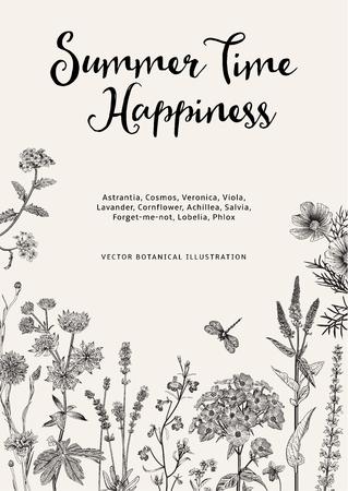 Illustration pour Summer time. Happiness. Vector vintage botanical illustration. Black and white garden flowers - image libre de droit