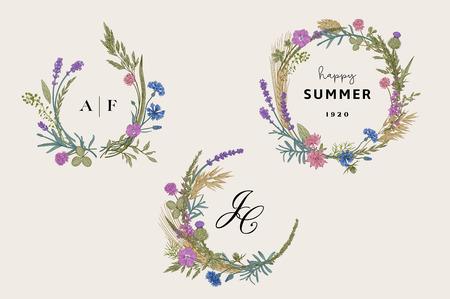 Illustration pour Flower wreaths. Design elements. Flowers and plants of fields and forests. Vector vintage botanical illustration. - image libre de droit