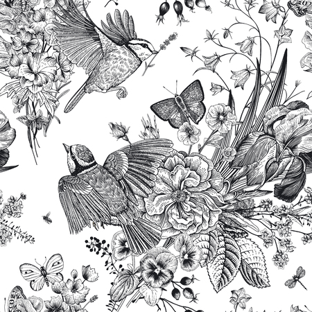 Illustration for Seamless floral pattern. Tits, flowers, butterflies. Vector vintage botanical illustration. Black and white - Royalty Free Image