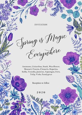 Illustration pour Spring magic. Invitation. Spring flowers with a blue contour. Vector vintage illustration. - image libre de droit