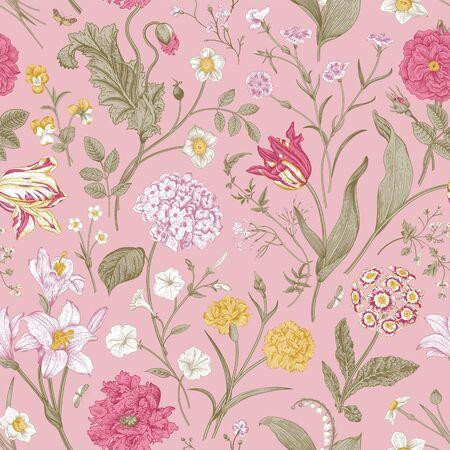 Illustration pour Seamless vector floral pattern. Shabby Chic. Classic illustration - image libre de droit