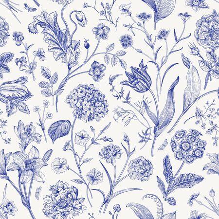 Illustration pour Seamless vector floral pattern. Classic illustration. Toile de Jouy - image libre de droit