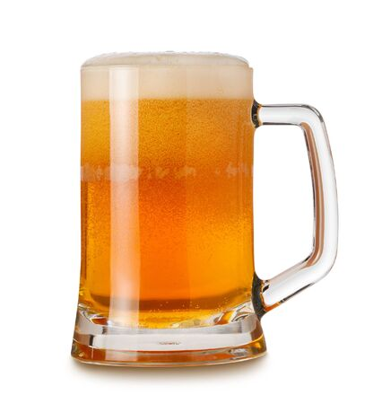 Photo pour Glass mug with wheat light India Pale Ale beer, foam and bubbles isolated on white background - image libre de droit
