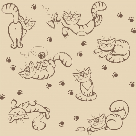 Seamless background with cartoon funny cats,  illustration