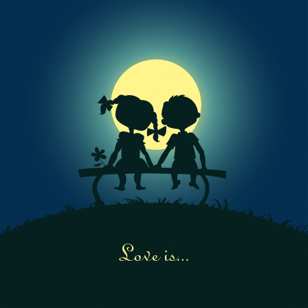 Silhouettes of a boy and a girl sitting in the moonlight on a bench  Template desigh for card