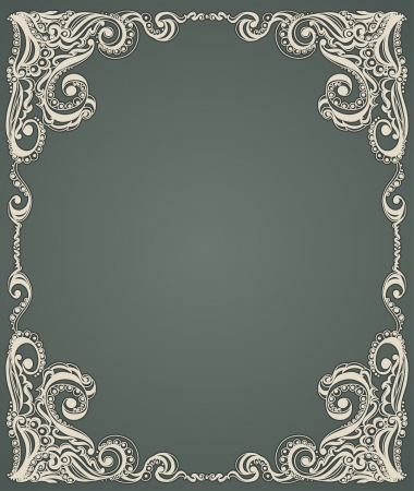 Abstract floral retro pattern  Template frame design for card