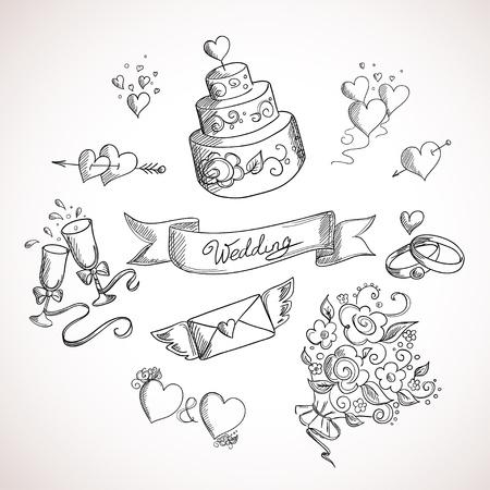 Foto de Sketch of wedding design elements. Hand drawn illustration - Imagen libre de derechos