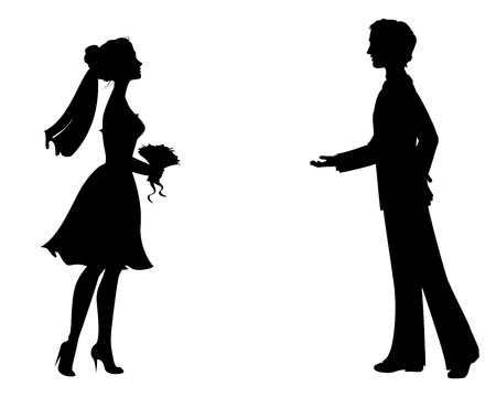 Silhouettes of bride and groom.
