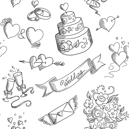 Seamless background with hand drawn wedding design elementsのイラスト素材
