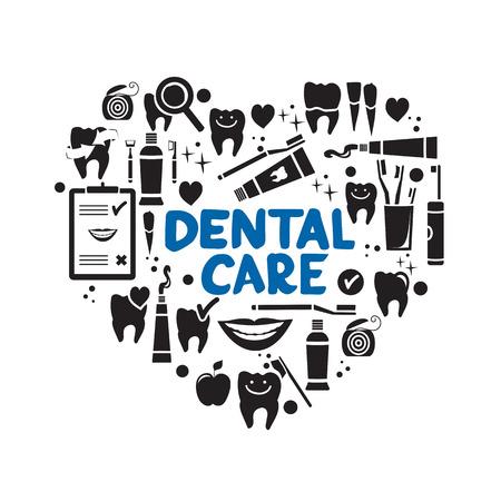 Illustration pour Dental care symbols in the shape of heart. Dental floss, teeth, mouth, tooth paste etc. - image libre de droit