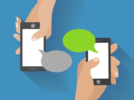 Ilustración de Hands holing smartphone with blank speech bubble for text. Using smart phone similar to iphon for text messaging.   - Imagen libre de derechos
