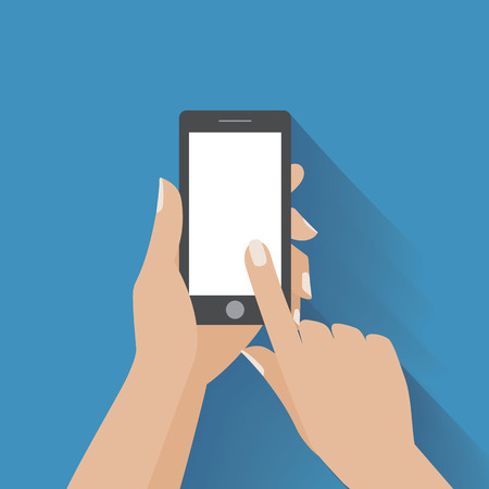 Hand holing black smartphone, touching blank white screen. Using mobile smart phone, flat design concept.