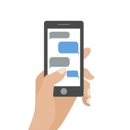 Ilustración de Hand holing black smartphone similar to iphon with blank speech bubbles for text. Text messaging flat design concept. - Imagen libre de derechos