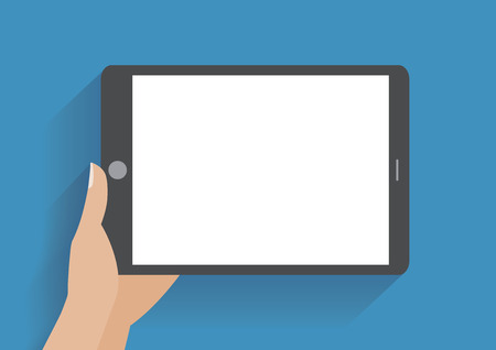 Illustration pour Hand holing tablet computer with blank screen.  - image libre de droit