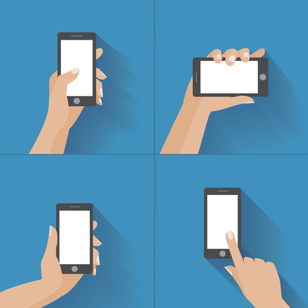 Hand holing black smartphone, touching blank white screen. Using mobile smart phon, flat design concept.