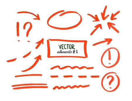 Illustration pour Set of correction and highlight elements, part 1. Circles, arrows, lines etc. Hand drawn with marker pen. Vector illustration. - image libre de droit