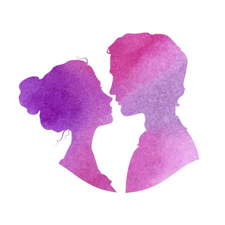 Foto de Profile silhouettes of man and woman. - Imagen libre de derechos