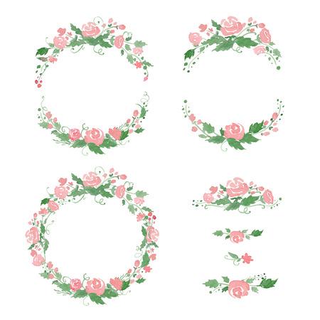 Illustration pour Watercolor floral frames, wreath, dividers. - image libre de droit