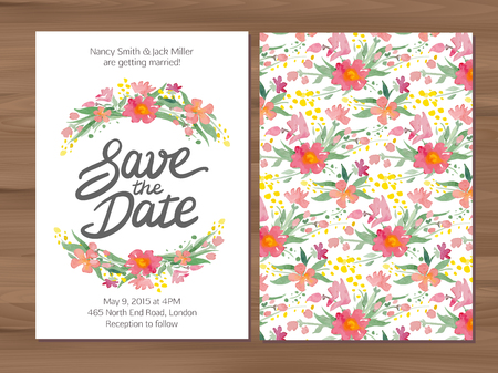Illustration pour Save the date wedding invitation with watercolor flowers and hand drawn lettering. Card template on a wooden background. - image libre de droit