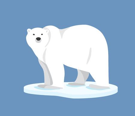 Illustration pour Hand drawn illustration of polar bear. Polar bear standing on ice floe, side view. Flat style - image libre de droit