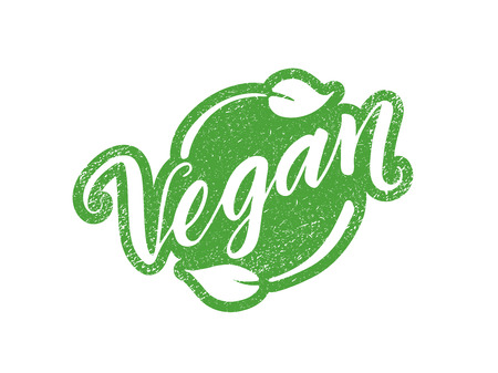 Illustration for Vegan stamp with hand drawn lettering isolated on white. Layered vector illustration, can be placed on any background you like. Label, badge template - Royalty Free Image