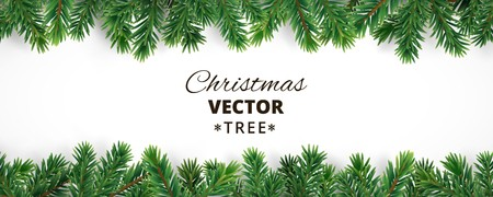 Illustration pour Banner with vector christmas tree branches and space for text. Realistic fir-tree border, frame isolated on white. Great for christmas cards, banners, flyers, party posters, headers. - image libre de droit