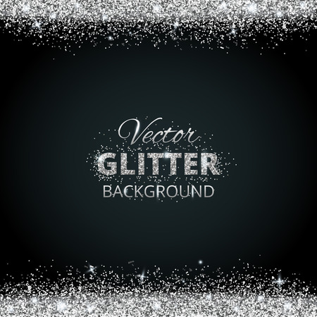 Ilustración de Shiny background with silver glitter frame and space for text. Vector glitter decoration, great for christmas and birthday cards, wedding invitation, party posters and flyers. - Imagen libre de derechos