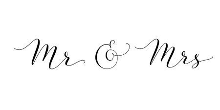 Mr and Mrs words with ampersand. Mister and Missis hand written custom calligraphy isolated on white.