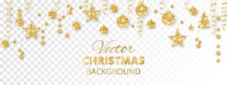 Ilustración de Sparkling Christmas glitter ornaments. Golden fiesta border. - Imagen libre de derechos
