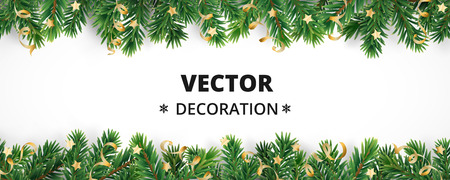 Illustration pour Winter holiday background. Border with Christmas tree branches and ornaments isolated on white. Fir needles garland, frame with streamers. Great for New year cards, banners, headers, party posters. - image libre de droit
