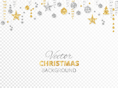 Illustration pour Sparkling Christmas glitter ornaments isolated on transparent background. Gold and silver fiesta border. Garland with hanging balls and ribbons. Great for New year party posters, website headers. - image libre de droit