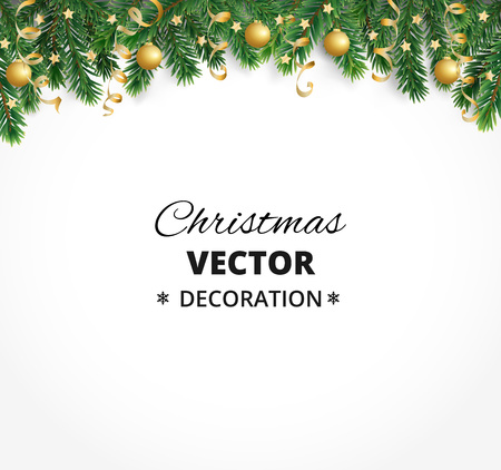 Illustration pour Winter holiday background. Border with Christmas tree branches. Garland, frame with hanging baubles, streamers - image libre de droit