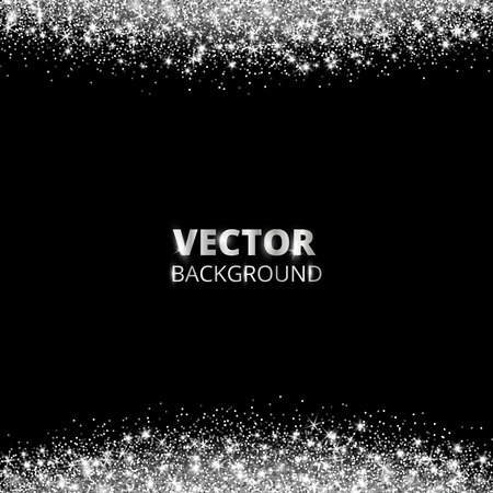 Ilustración de Sparkling glitter border, frame. Falling silver dust on black background. Vector white glittering decoration. For wedding invitations, party posters, Christmas, New Year and birthday cards. - Imagen libre de derechos