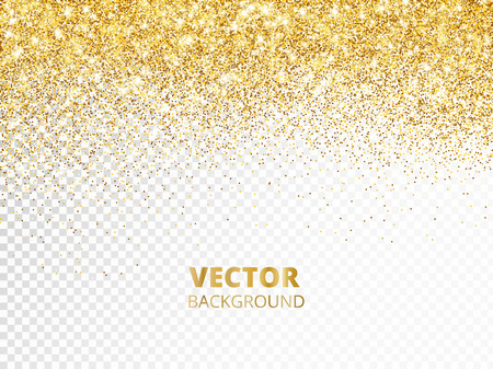 Illustration pour Sparkling glitter border, frame. Falling golden dust isolated on transparent background. Vector gold decoration. For wedding invitations, party posters, Christmas, New Year and birthday cards. - image libre de droit