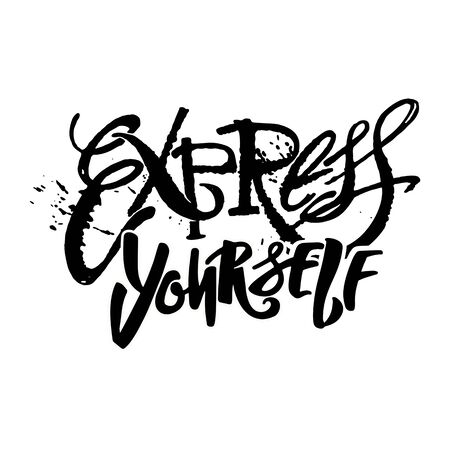 Illustration pour Express yourself.Believe and do, create art motivator.Hand lettering vector illustration poster. Artistic design,beautiful modern expressive calligraphy. - image libre de droit