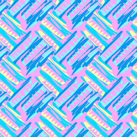 Illustration pour Abstract surface design seamless rough grunge pattern, modern design template.Trendy painted style texture, poster with different doodle elements.Urban bright youth textiles sample - image libre de droit