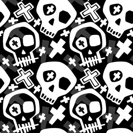 Illustration pour Skull funky boys and girls apparel modern print.Seamless graffiti style painting, halloween background wallpaper - image libre de droit