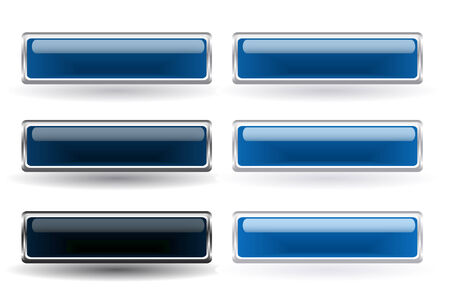Set of six blue buttons