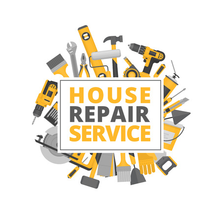 Illustration for Home repair. Construction tools. Hand tools for home renovation and construction. Flat style, vector illustration. - Royalty Free Image